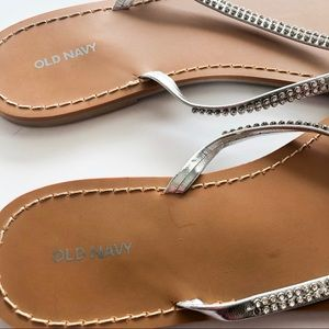 Old Navy Shoes - Old Navy Rhinestone Studded Flip Flops • Size
